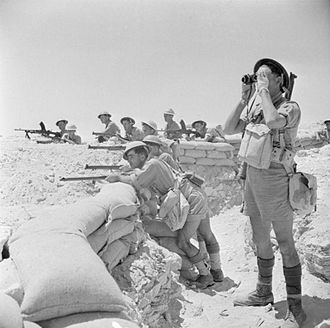 First Battle of El Alamein - British infantry manning a sandbagged defensive position near El Alamein, 17 July 1942.