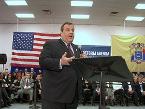 Chris Christie - Christie at a town hall meeting in Union City, New Jersey, on February 9, 2011