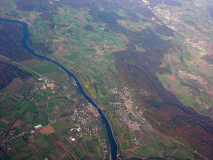 Diessenhofen - Aerial view of Diessenhofen on the left side of the Rhine River