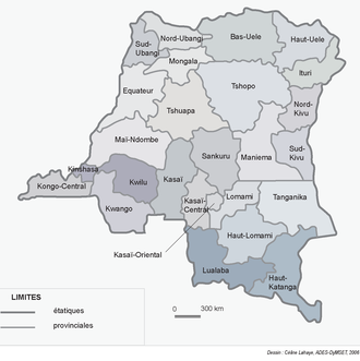 Provinces of the Democratic Republic of the Congo - Image: 2006 Nouvelles provinces de la République Démocratique du Congo