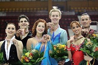 2008 World Junior Figure Skating Championships - The ice dancing podium. From left: Vanessa Crone / Paul Poirier (2nd), Emily Samuelson / Evan Bates (1st), Kristina Gorshkova / Vitali Butikov (3rd).