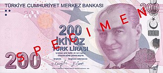 Turkish lira - Image: 200 Türk Lirası front