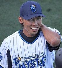 20140817 Uchimura kensuke, infielder of the Yokohama DeNA BayStars, at Yokosuka Stadium.JPG