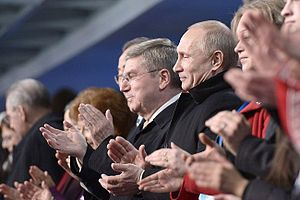 Thomas Bach - Thomas Bach with Russian President Vladimir Putin at the 2014 Winter Olympics opening ceremony