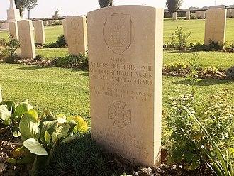 Anders Lassen - Major Anders Lassen's grave at Argenta Gap War Cemetery, east of Argenta, 1 September 2015.