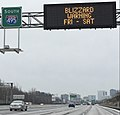 2016-01-22 10 06 42 Variable message signs reading 'Blizzard Warning - Fri-Sat' on the southbound outer loop of the Capital Beltway (Interstate 495) in McLean, Fairfax County, Virginia-cropped.jpg