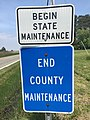 2016-05-18 11 44 32 Signs marking the end of county maintenance and beginning of state maintenance at the south end of Maryland State Route 249 (Piney Point Road) near Arthur Fenwick Lane in Piney Point, St. Mary's County, Maryland.jpg