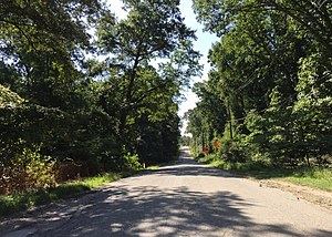 2016-08-12 10 05 48 View east along Maryland State Route 216 (Old Portland Road) near River Road in Maryland City, Anne Arundel County, Maryland.jpg