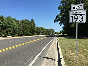 Maryland Route 193 - View west at the east end of MD 193 at MD 202 in Kettering