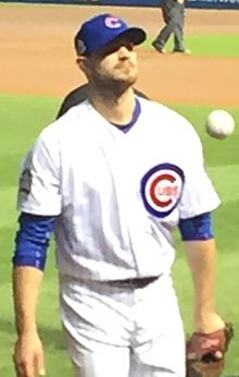 2016-WS-G4 IMG 5462 Grimm warming up in Cubs bullpen (cropped).jpg