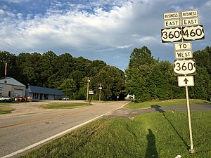 U.S. Route 360 - US 360 Bus and US 460 Bus just west of Burkeville