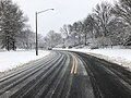 2018-03-21 10 23 05 View east along a slushy Franklin Farm Road (Virginia State Route 6819) at Thorngate Drive (Virginia State Route 6849) in the Franklin Farm section of Oak Hill, Fairfax County, Virginia.jpg