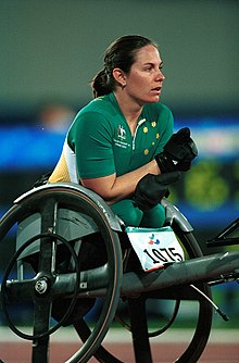 221000 - Athletics wheelchair racing Christie Skelton pre race - 3b - 2000 Sydney race photo.jpg