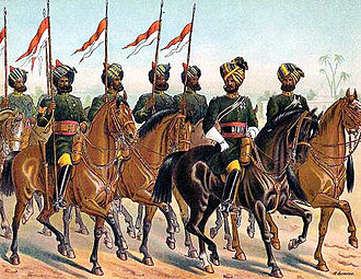 Pakistan Army Armoured Corps - 2nd Bombay Lancers (now 13th Lancers).  Coloured lithograph by Richard Simkin, 1885.