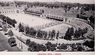 Crotona Park - 1964 promotional photograph of the pool at Crotona Park.