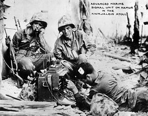 3rd Battalion, 24th Marines - Radio Operators from Comm Platoon, 3rd Battalion, 24th Marines, under fire during the Battle of Roi-Namur