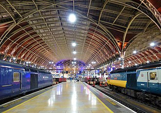 London Paddington station - The Victorian train shed at Paddington at Night