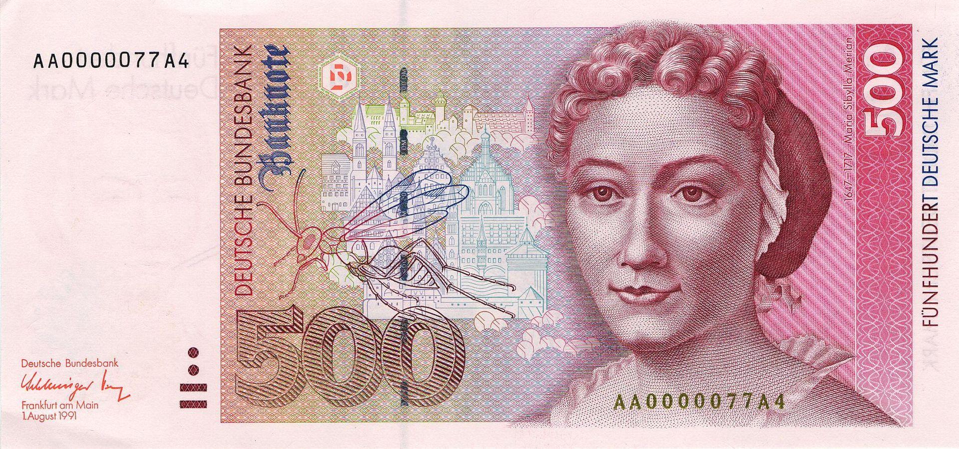 500 Deutsche Marcos, Anverso
