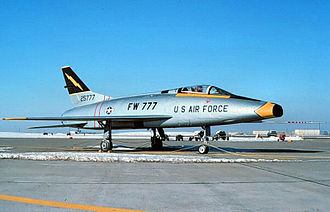 388th Fighter Wing - 561st TFS F-100A Super Sabre, AF Ser. No. 52-5777, at Etain AB, 1957. Aircraft was noted in 1990 at Hill AFB Museum, Utah