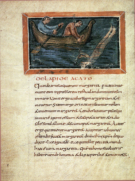 Catching of pearls, Bern Physiologus (9th century) 77-Fisiologo di Berna - rapporto delle perle.jpg