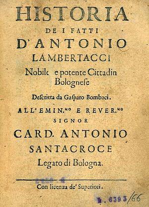 Imelda de' Lambertazzi - Title Page to Historia de i fatti d'Antonio Lambertacci (1632) by Gasparo Bombaci (1607-1676)