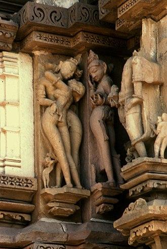 Chitragupta temple, Khajuraho - Image: 9 Khajiro Chitragupta apsara mithuna