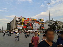 Posters, banners and flags on Atatürk Cultural Center (AKM) on 7 June