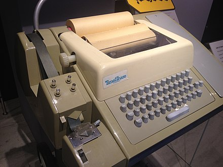 A Teletype Model 33 ASR teleprinter, with punched tape reader and punch, usable as a computer terminal ASR-33 at CHM.agr.jpg