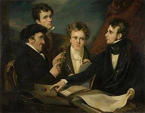George Hayter - A Controversy on Colour, by John Hayter (1800-1891) showing from left to right Charles Hayter (father of John and George), John Hayter, Edwin Landseer and George Hayter (Shipley Art Gallery, UK)