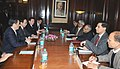 A Japanese delegation led by the former Prime Minister, Mr. Yasuo Fukuda calls on the Union Finance Minister, Shri Pranab Mukherjee, in New Delhi on January 05, 2012.jpg