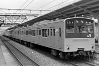 A Tokaido line train at Kakogawa station 19880315.JPG