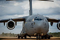 A U.S. Air Force C-17 Globemaster III aircraft assigned to Joint Base McGuire-Dix-Lakehurst, N.J., taxis at the Geronimo landing zone during Joint Readiness Training Center (JRTC) 14-05 training at Fort Polk 140314-F-XL333-104.jpg