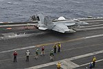 A U.S. Navy F-A-18E Super Hornet aircraft assigned to Strike Fighter Squadron (VFA) 147 launches from the aircraft carrier USS Nimitz (CVN 68) in the Indian Ocean June 7, 2013 130607-N-TW634-154.jpg