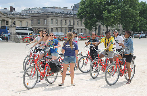 A biking guide group, Paris 14 June 2014