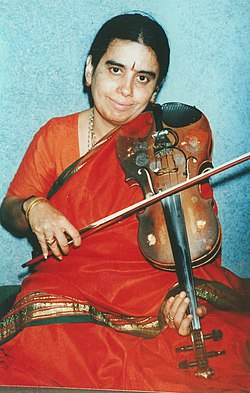A still of Avasarala Kanyakumari who will be presented with the Sangeet Natak Akademi Award for Carnatic Music - Instrumental (Violin) by the President Dr. A.P.J Abdul Kalam in New Delhi on October 26, 2004.jpg