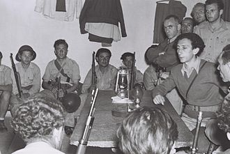 Abba Kovner - Kovner (right) briefs members of the IDF in Yad Mordechai during the Israeli War of Independence