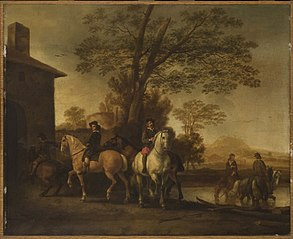 Horsemen Watering Their Horses