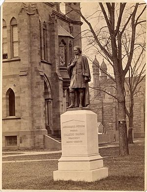 Abraham Pierson - Statue of Rev. Abraham Pierson, Old Campus of Yale College, circa 1879