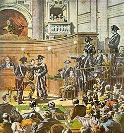Reconstitución del juicio de Acciarito publicada en el diario 'La Tribuna Illustrata' en el 9 de julio de 1899.