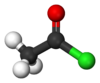 Ball-and-stick model of acetyl chloride