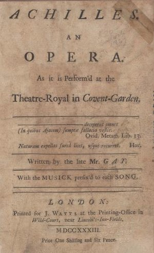Achilles (opera) - Title-page of John Gay's ballad-opera Achilles, published 1733