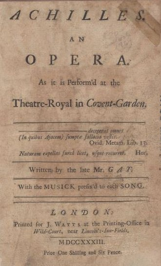 Achilles (opera) - Title-page of the libretto of John Gay's ballad-opera Achilles, published 1733