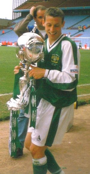 2002 FA Trophy Final - Adam Stansfield, who scored one of Yeovil's goals in the final, with the trophy
