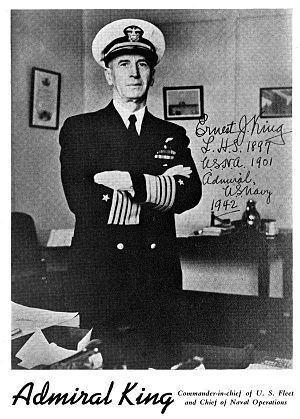 Lorain High School - Signed Promotional picture of Admiral King, a notable Lorain High School alumnus.