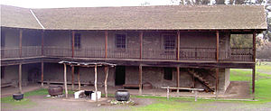 Monterey Colonial architecture - Monterey Colonial style house at Rancho Petaluma Adobe