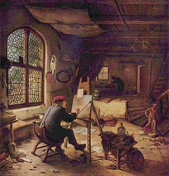 Studio - Adriaen van Ostade. Selfportrait. 1663. Gemäldegalerie.