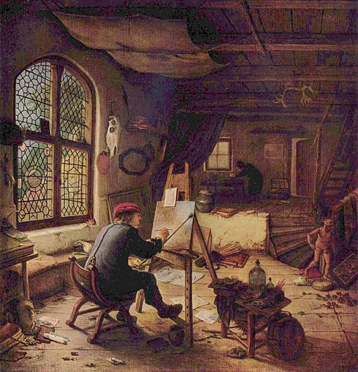 """The Painter in his Studio"" by Adriaen van Ostade"