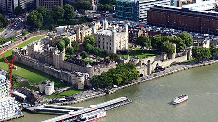 The Tower of London, a medieval castle, dating in part to 1078 Aerial Tower of London.jpg