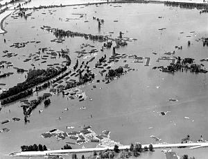 Vanport, Oregon - Aerial view of the Vanport flood, looking west from North Denver Avenue on June 15, 1948