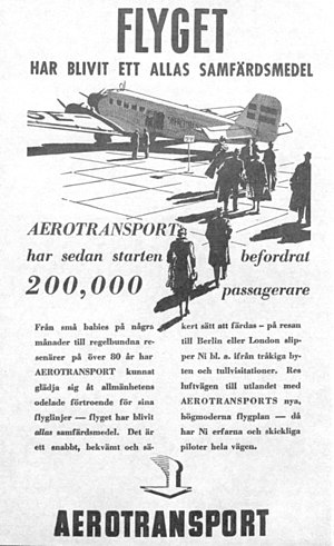 AB Aerotransport - Advertisement of 1937